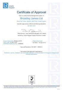 ISO Certificate for Broadley James Ltd