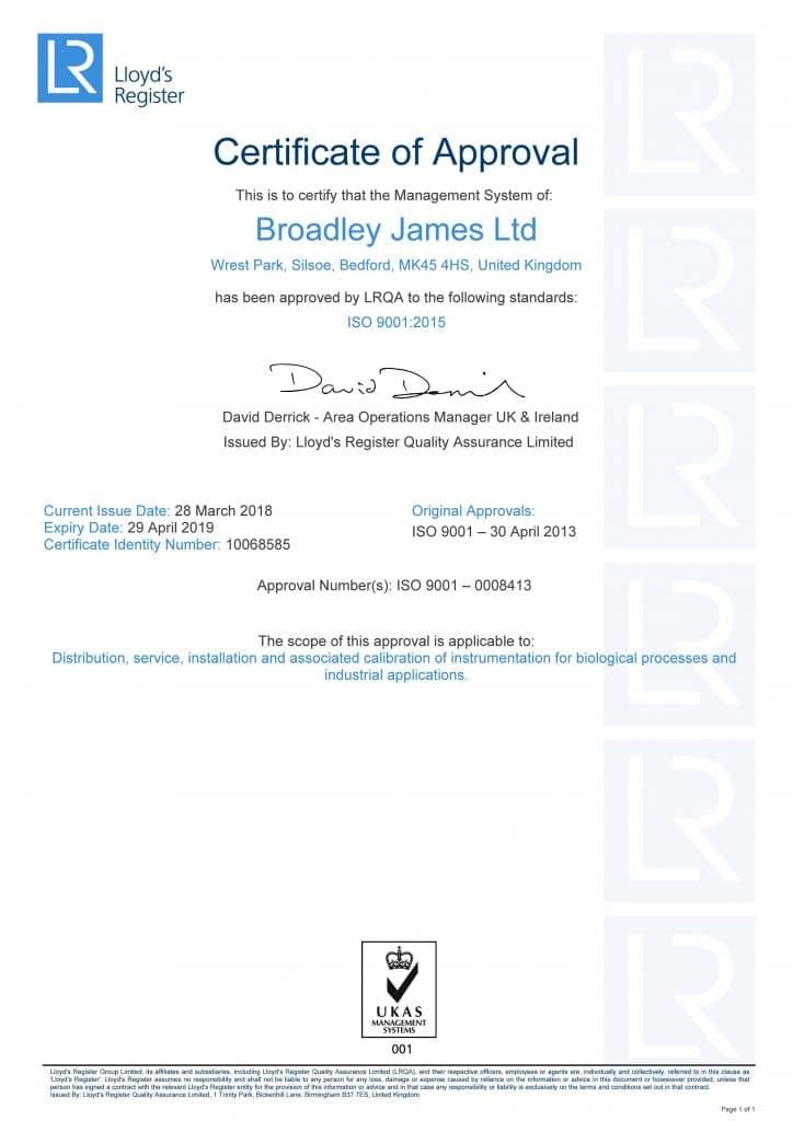 ISO Certificate for Broadley James Ltd