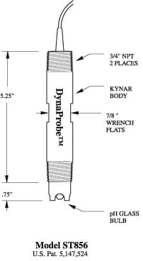 Dimensions graphic for a ST856 pH DynaProbe