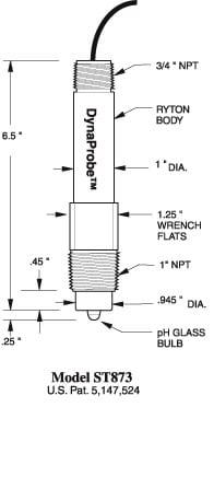 ST873 pH DynaProbe Dimensions