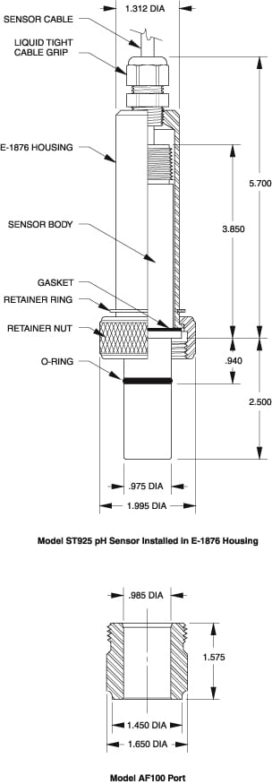 Graphic showing the Housing Dimensions of an ST925 pH DynaProbe