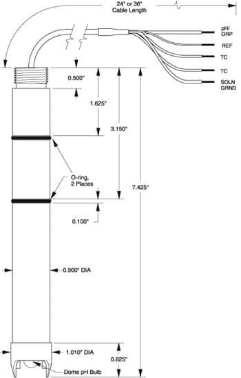 ST977 pH DynaProbe dimensions