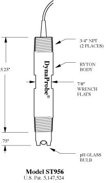 Dimensions graphic for a ST956 pH DynaProbe