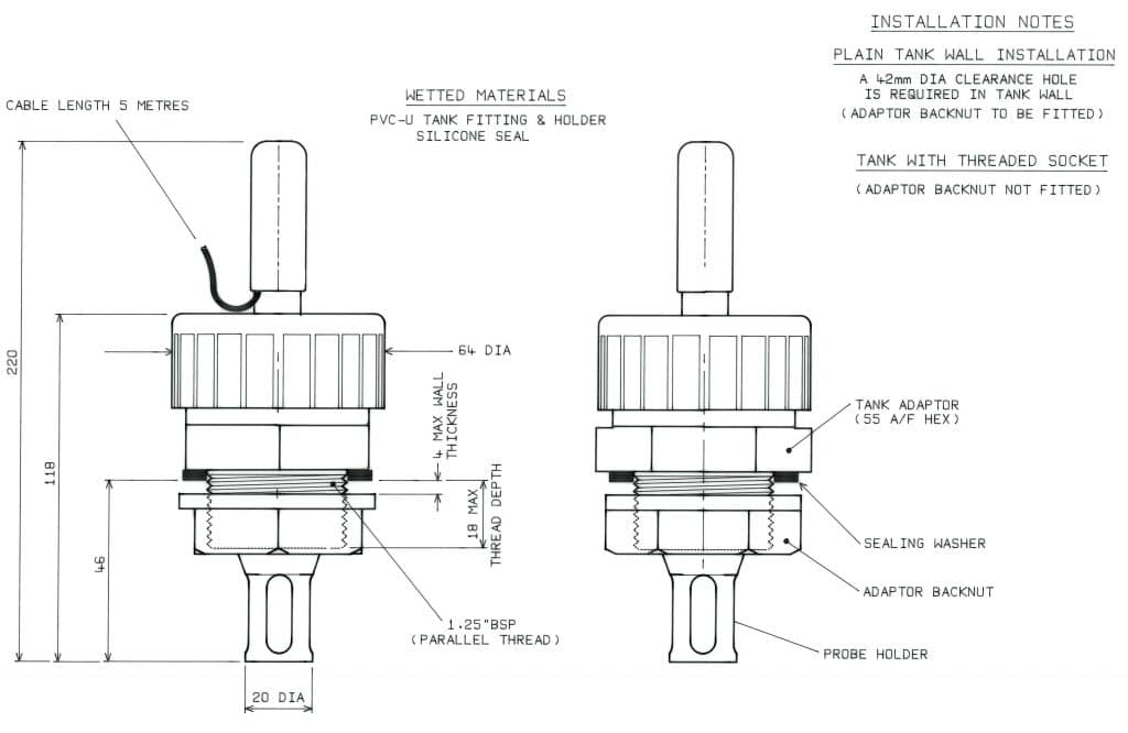Dimension Drawing for PME27 Insertion Housing