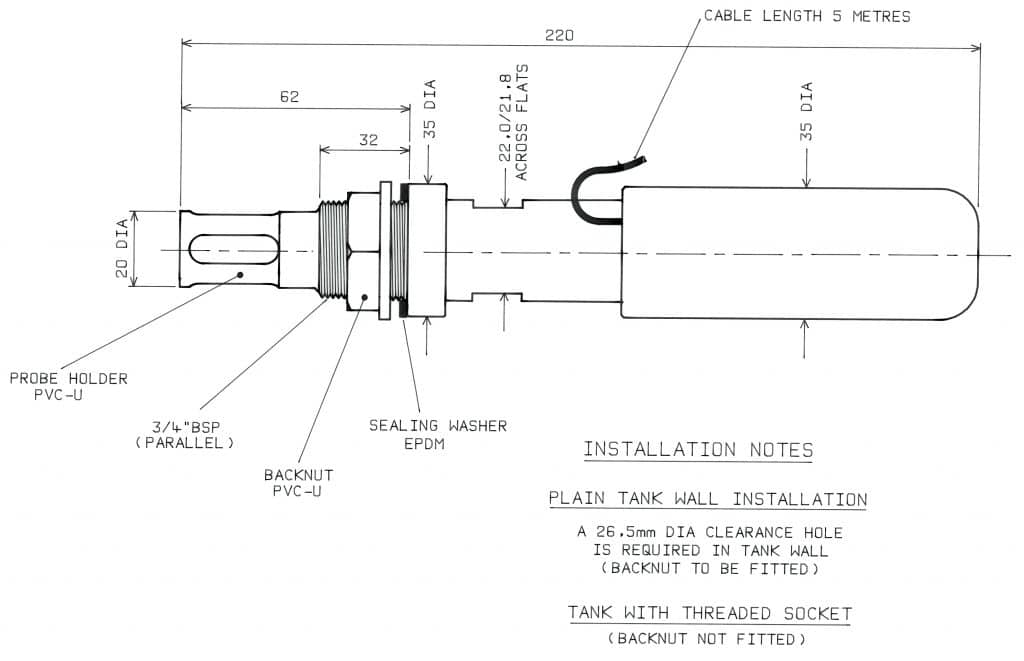 PME20 Insertion Housing Dimension Drawing