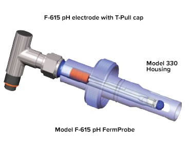 Model F615 ph FermoProbe electrodes with T-pull cap